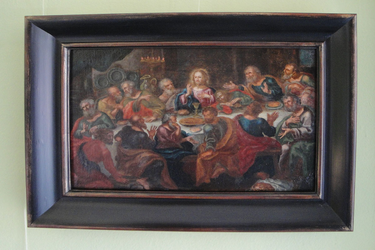 Oil on canvas in distressed paint and gilt frame