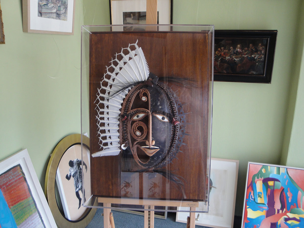 Thursday Island mask in display case