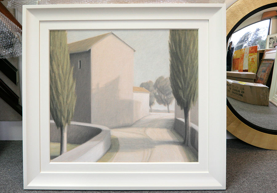 Sprayed gesso finish frame on Peter Boggs painting 'Afternoon light (A subject seen between Arezzo and Sansepolcro)'