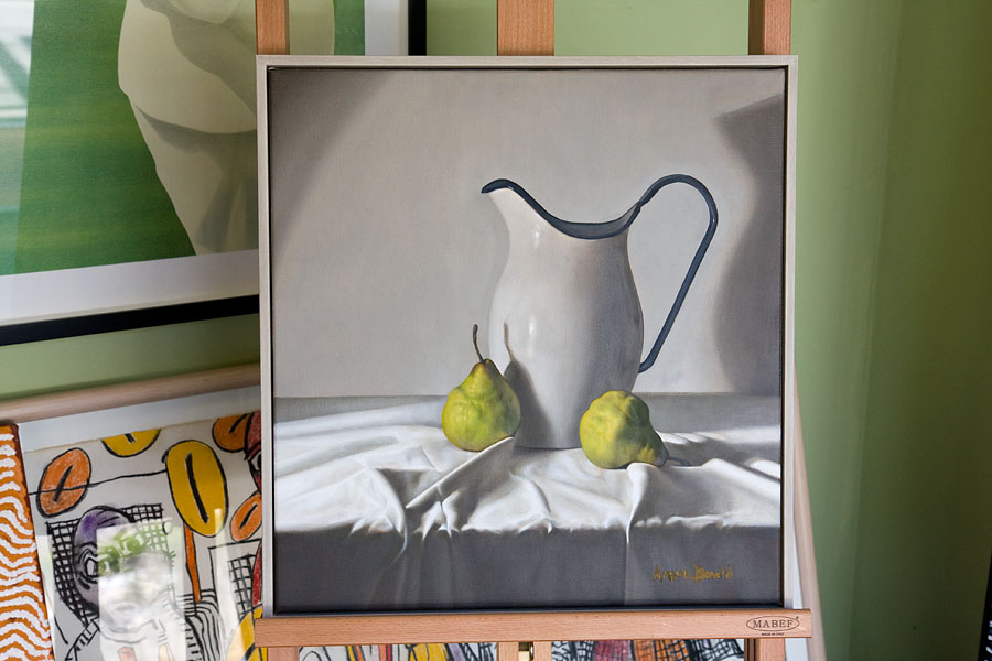 Still life with jug and pears by Angus Donald