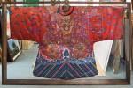 Kimono suspended in double sided Tasmanian oak display case