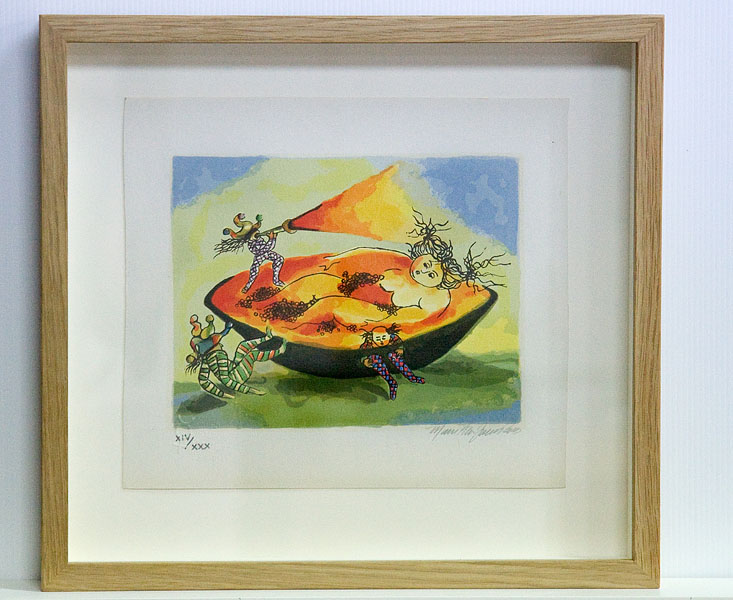 Coloured lithograph on paper in raw Tasmanian oak box frame