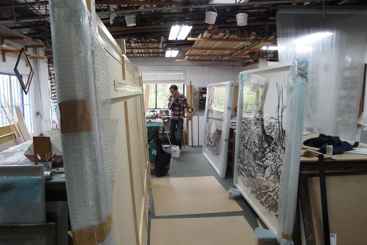 Mika Popov oversized work on paper, 4m x 2m