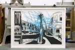 Charcoal and watercolour on paper by Mika Utzon Popov in box frame