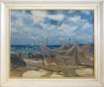 European seascape with gesso and gilt frame