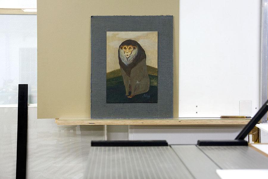 Oil on card to be framed, by London artist John Byrne (Patrick)
