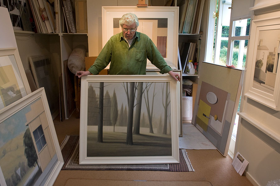 Peter Boggs in studio with 'Parklands 2 (Dawn)', 2007 – sprayed acrylic gesso frame