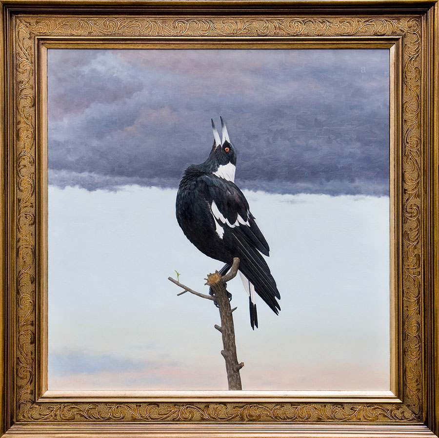 Song, by Andrew Sullivan (oil on board) in customised factory outer frame and hand gilded silver fillet